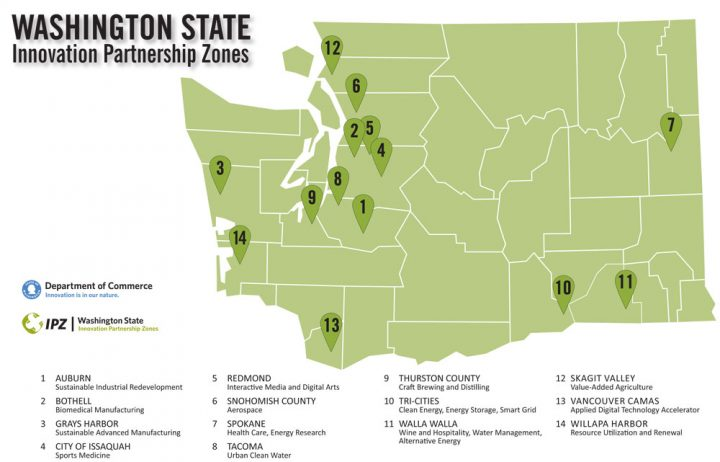 Map of Washington State innovation partnership zones