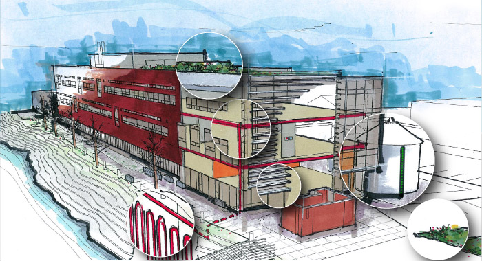 Center for Urban Waters building cutaway: saving energy