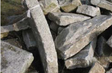 stockpiled granite curbs