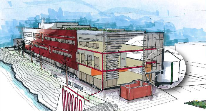 Center for Urban Waters building cutaway: saving water