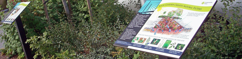 interpretive signage installed along sidewalk
