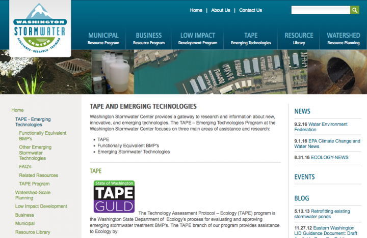 Screenshot of Washington Stormwater Center TAPE program page
